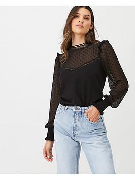 Oasis Oasis Chiffon Sleeve High Neck Jumper - Black Picture