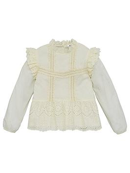 V by Very V By Very Girls Woven Broderie Ruffle Top - Cream Picture