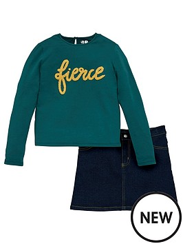 v-by-very-girls-2-piece-fierce-jersey-top-and-denim-skirt-set-multi