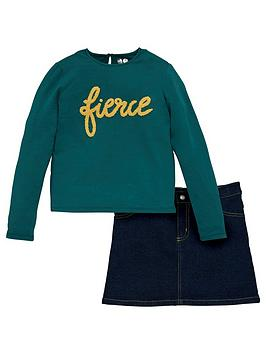 V by Very V By Very Girls 2 Piece Fierce Jersey Top And Denim Skirt Set -  ... Picture