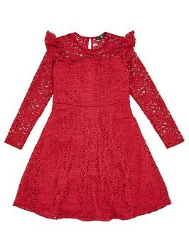 V by Very V By Very Girls Ruffle Lace Skater Dress - Berry Picture
