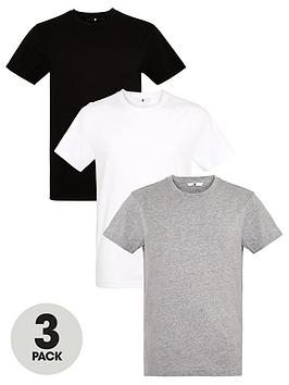 V by Very V By Very 3 Pack Crew T-Shirts - Black/White/Grey Picture