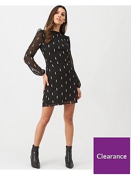 oasis-embroidered-leaf-piecrust-dress-black