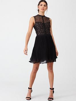 oasis-lace-star-pleat-dress-multiblack