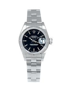 rolex-rolex-pre-owned-ladies-date-steel-watch-black-dial-ref-79190