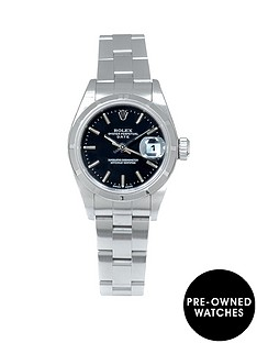 rolex-rolex-pre-owned-ladies-date-steel-watch-black-dial-ref-79190
