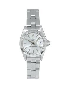 rolex-rolex-pre-owned-ladies-date-steel-watch-silver-dial-ref-69160