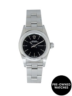 rolex-rolex-pre-owned-ladies-non-date-steel-watch-black-dial-ref-76080