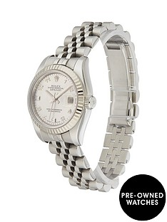rolex-rolex-pre-owned-ladies-datejust-steel-watch-mop-roman-numeral-dial-original-paperwork-ref-179174
