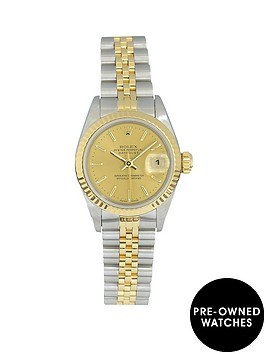 rolex-rolex-pre-owned-ladies-datejust-bimetal-watch-champagne-baton-dial-reference-69173