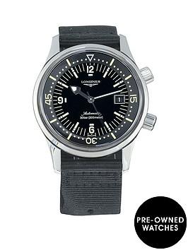 longines-pre-owned-gents-legend-diver-steel-watch-black-dial-ref-l36744