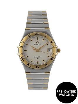 omega-omega-pre-owned-gents-constellation-bimetal-quartz-watch-silver-dial-ref-131230