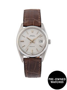rolex-rolex-pre-owned-gents-oysterdate-steel-watch-light-grey-gold-baton-dial-ref-6694