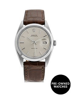 rolex-rolex-pre-owned-gents-oysterdate-steel-watch-silver-dial-ref-6694