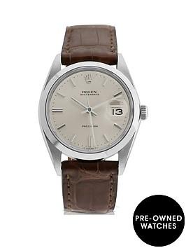 rolex-rolex-pre-owned-gents-oysterdate-steel-watch-silver-dial-ref-6694