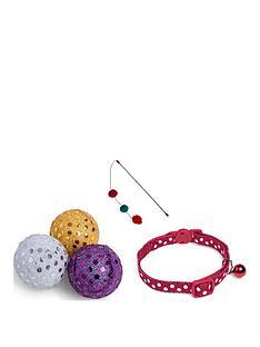 petface-christmas-cat-collar-x3-glitter-balls-and-glitter-ball-teaser