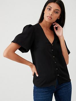 V by Very V By Very Bubble Sleeve Top - Black Picture