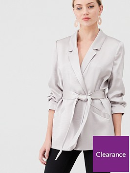 river-island-river-island-ruched-sleeve-belted-blazer-silver