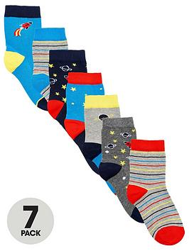 V by Very V By Very Boys 7 Pack Space Socks - Multi Picture