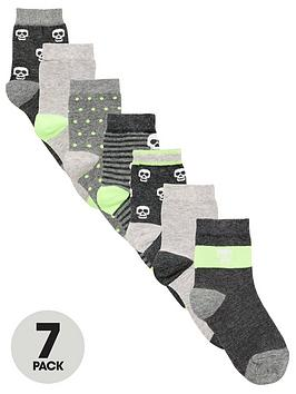 V by Very V By Very Boys 7 Pack Skull Socks - Grey/Lime Picture