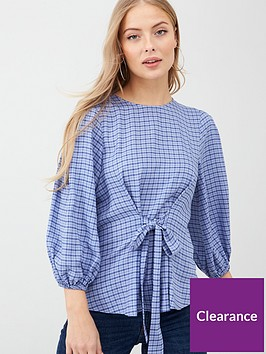 v-by-very-tie-front-blouse-blue-checknbsp