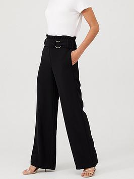 V by Very V By Very Buckle Front Paperbag Waist Trouser - Black Picture