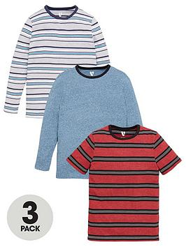V by Very V By Very Boys 3 Pack Short And Long Sleeve Stripe T-Shirts -  ... Picture