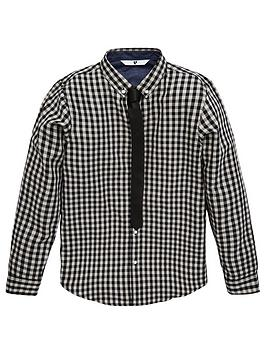 V by Very V By Very Boys 2 Piece Gingham Shirt And Tie Set - Grey/Black Picture