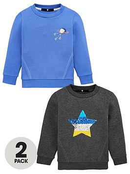 V by Very V By Very Boys 2 Pack Sequin Star Sweatshirts - Multi Picture