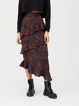 V by Very V By Very Asymmetric Printed Ruffle Midi Skirt Picture