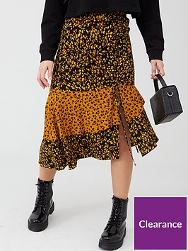 v-by-very-ruched-side-midi-skirt-rust