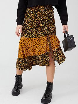 V by Very V By Very Ruched Side Midi Skirt - Rust Picture