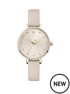 amanda-walker-amanda-walker-florence-champagne-gold-sunray-dial-nude-leather-strap-ladies-watch