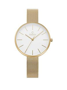 obaku-obaku-mynte-white-dial-rose-gold-stainless-steel-mesh-strap-ladies-watch