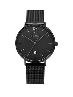obaku-obaku-toft-black-date-dial-black-stainless-steel-mesh-strap-mens-watch