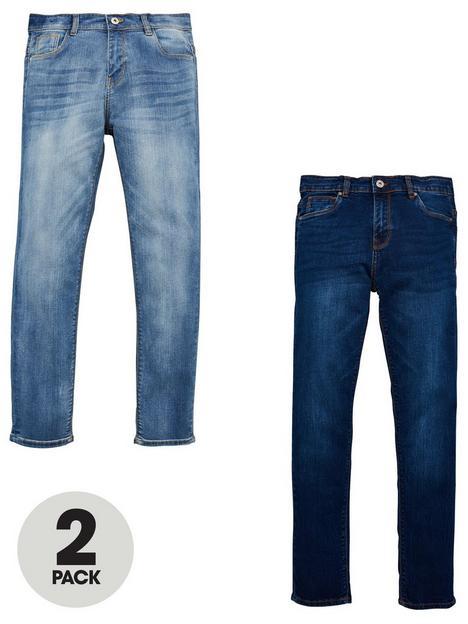v-by-very-boys-2-pack-slim-jeans-bleachdark-wash