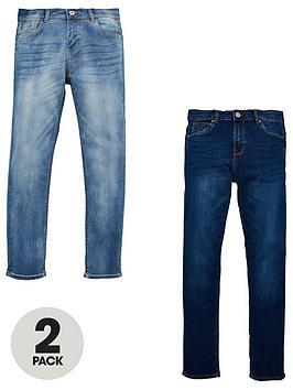 V by Very V By Very Boys 2 Pack Slim Jeans - Bleach Wash/Dark Wash Picture