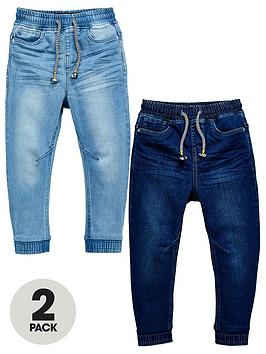V by Very V By Very Boys 2 Pack Pull On Carrot Fit Jeans - Bleach Wash/Mid  ... Picture