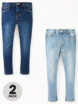 V By Very Boys 2 Pack Skinny Jeans - Dark/Light Wash