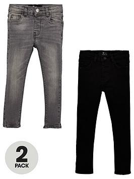 V by Very V By Very Boys 2 Pack Skinny Jeans - Black/Grey