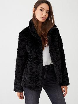 oasis-twisty-faux-fur-coat-black