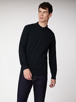 Ben Sherman Ben Sherman Ben Sherman Long Sleeve Cotton Polo-Black Picture