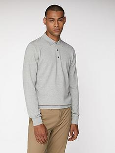 ben-sherman-long-sleeved-polo-shirt-grey