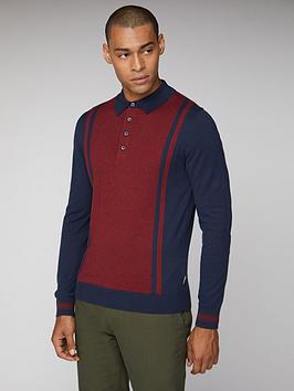 Ben Sherman Ben Sherman Long Sleeved Striped Polo - Dark Navy Picture