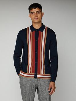 Ben Sherman Ben Sherman Long Sleeved Mod Button Through Polo Shirt - Dark  ... Picture
