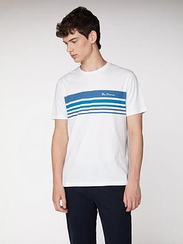 Ben Sherman Striped Chest Print T-Shirt - White
