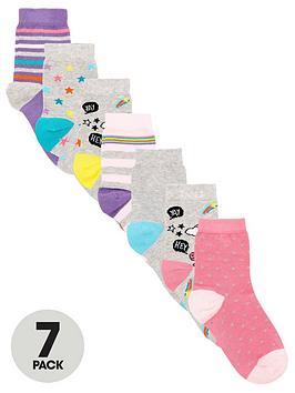 V by Very V By Very Girls 7 Pack Dino Unicorn Socks - Multi Picture
