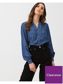 oasis-denim-shirred-cuff-blouse-dark-wash