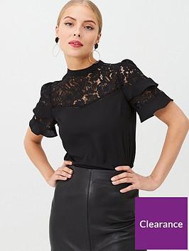 oasis-lace-trim-flute-sleeve-top-black