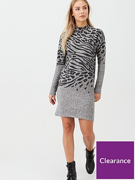 oasis-placement-animal-funnel-neck-cosy-dress